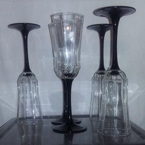 Octagon Shapes Luminarc Champagne Glass Black Stem